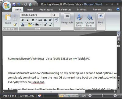 ms word in windows vista
